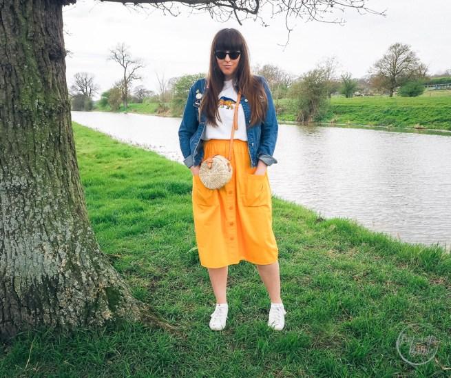 denim jacket, primark, yellow skirt, button skirt, spring fashion