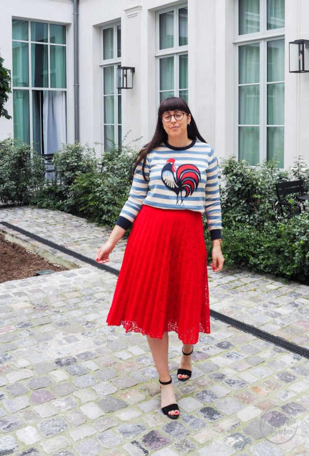 Joanie, Joanie Clothing, Joanie Jumper, Paris Street Style, Parisian Style, Stripe Jumper, Jumper, Red Skirt, The Hoxton Paris, Paris, Fashionista Barbie,How To Wear Stripes,