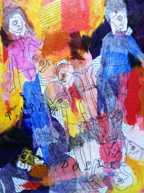 Paper Dolls mixed media painting