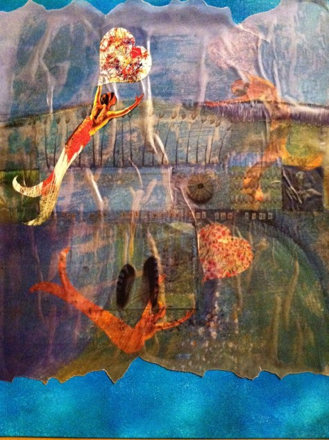 mermaid collage painting