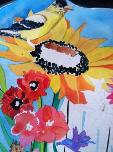 bird and flower art painting