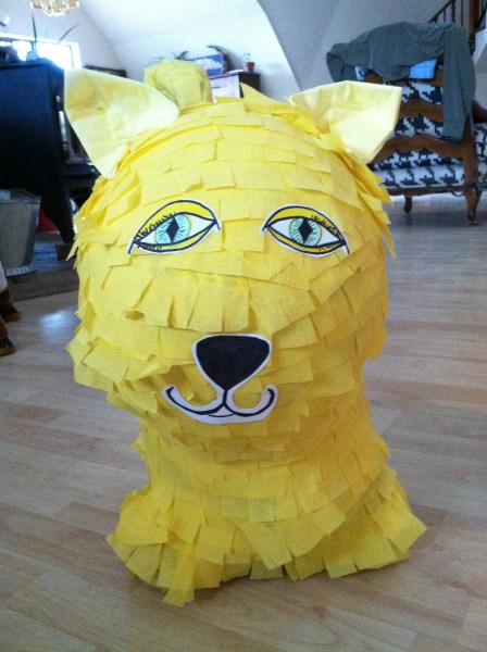 Yellow cat pinata