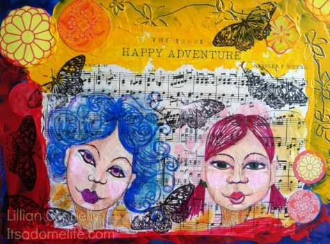 Road Trip! Mixed media painting by Lillian Connelly