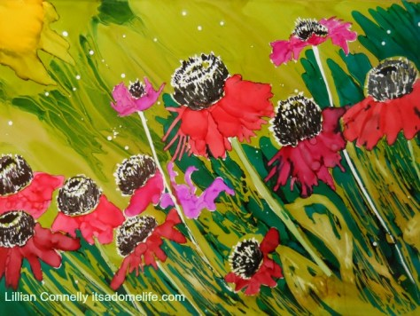 Cone Flower painting by Lillian Connelly 9x12 alcohol inks on Yupo Paper.