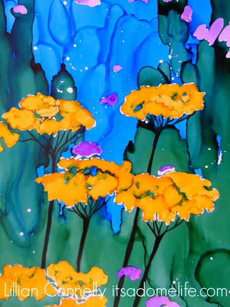 Yarrow Flower Painting by Lillian Connelly 9x12 alcohol inks on Yupo Paper