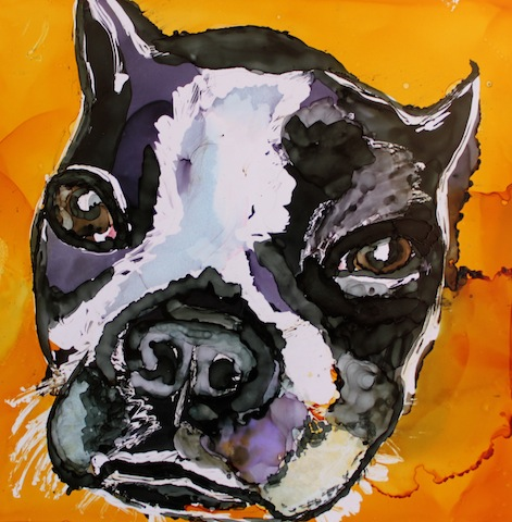 Painting A Boston Terrier Using Alcohol Inks On Yupo Paper Video