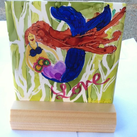 Mermaid Love Ceramic Art Tile