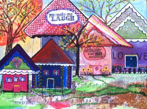 Little Houses In Mixed Media Are My New Addiction.