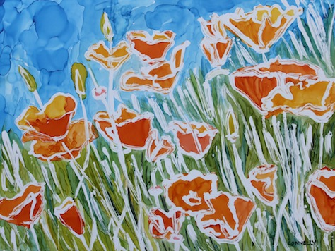 California Poppies Alcohol Ink Painting