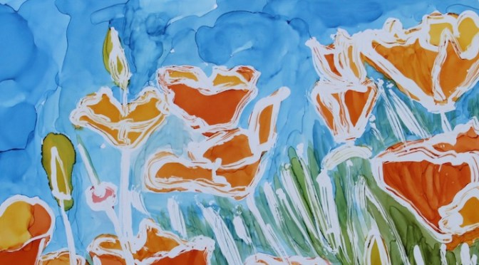 California Poppies In Alcohol Ink