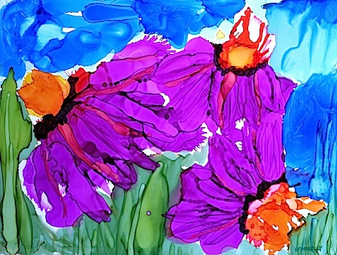 Coneflowers In Alcohol Ink