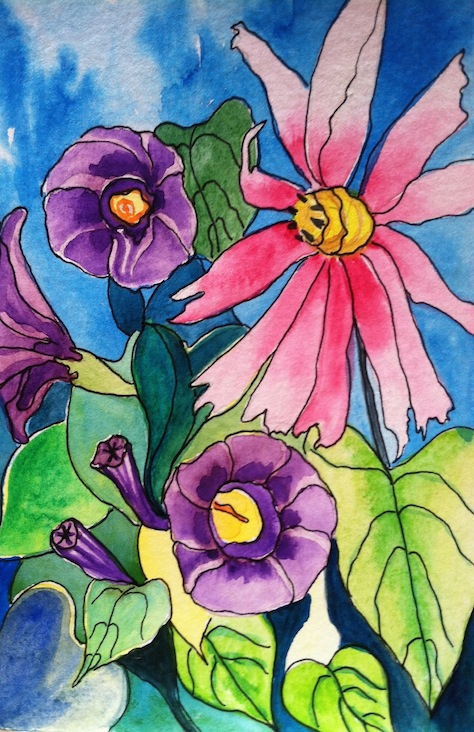 Morning Glory Watercolor Painting
