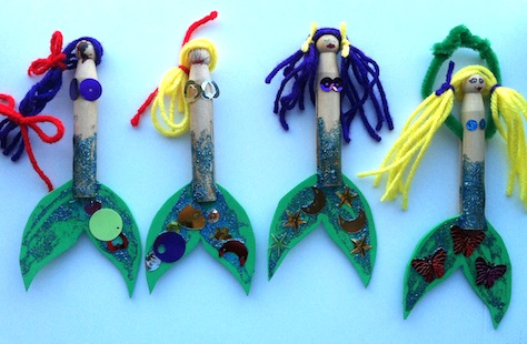 We Made Clothes Pin Mermaids