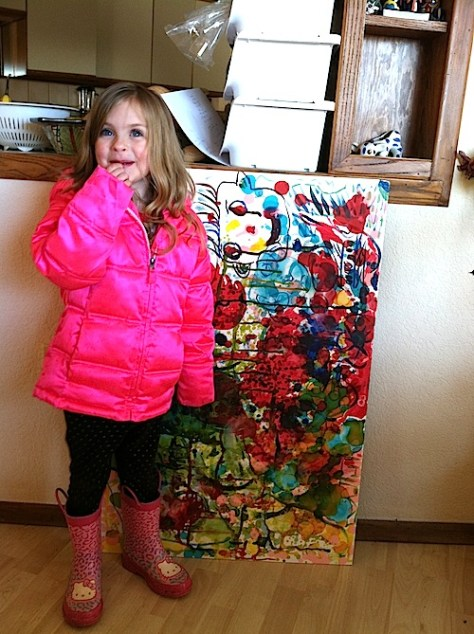 Posing with family art (making art with kids)