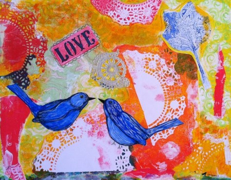 Valentine Bird Collage Mixed Media Art Day 19 of 30 Paintings In 30 Days.