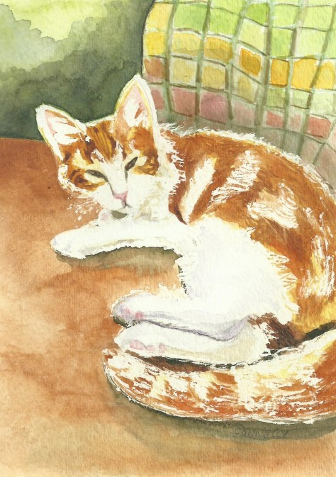 Cats Painted In Watercolor Day 4 September 2016