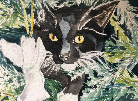 Cats Painted In watercolor day 28 September 2016