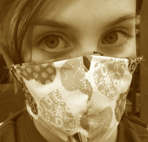 Wearing a cloth mask during the coronavirus pandemic.