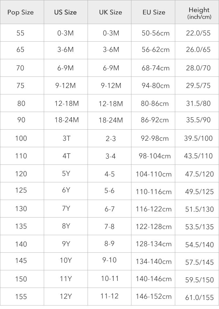 China Kids Size Chart : china, chart, Parity, American, Sizes,