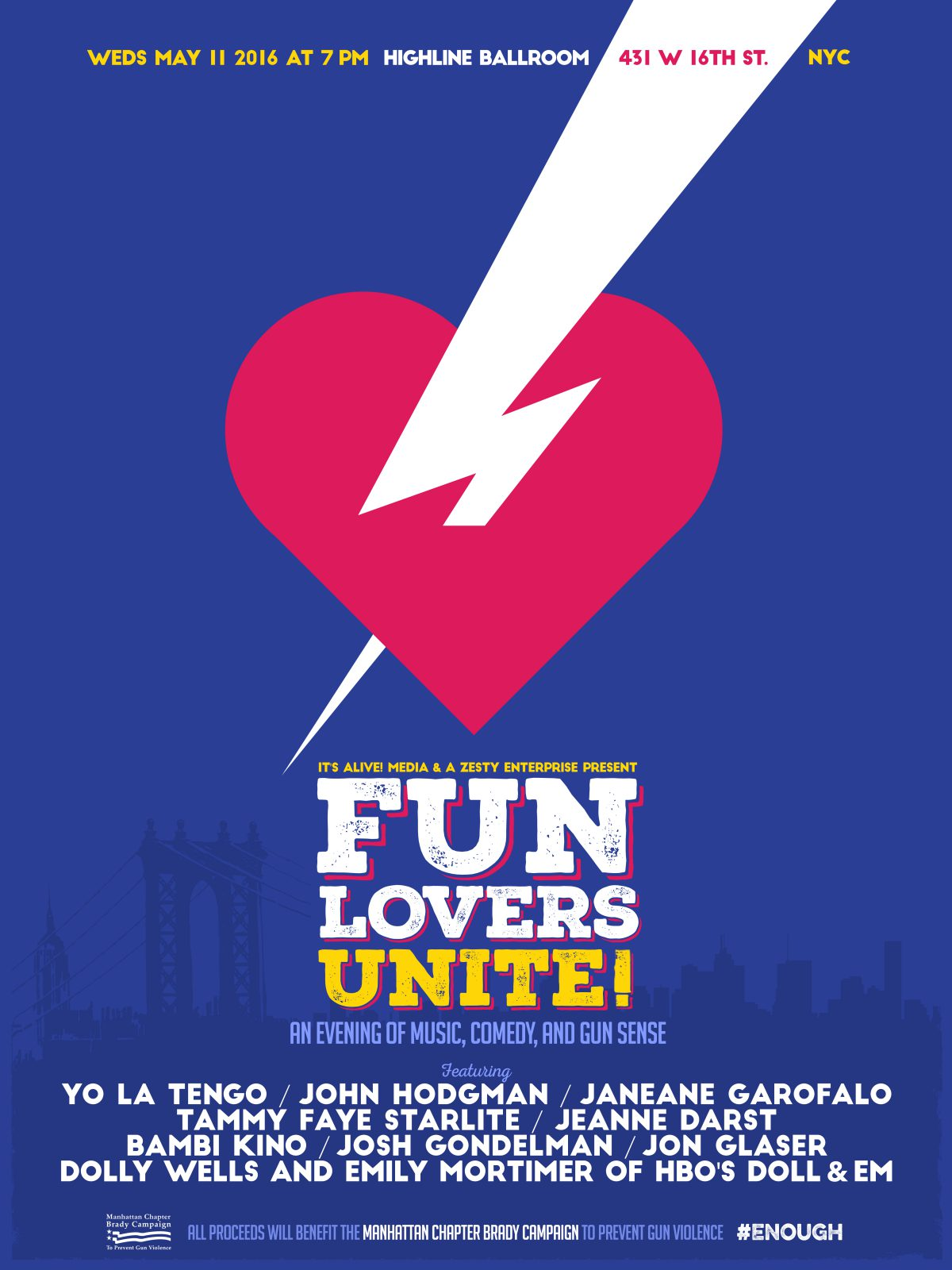 NYC MEDIA ALERT: Fun Lovers Unite with Yo La Tengo, Doll & Em, Janeane Garofalo & John Hodgman on Wed.'s May 11 at NYC's Highline Ballroom Announce MC's for Event!