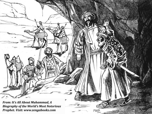 MUHAMMAD FLEES TO YATHRIB. Concerned about Muhammad's efforts to subvert their way of life, the Meccan leaders decided to kill him. He learned of their plot and escaped from Mecca in the company of Abu Bakr, his most trusted friend. They hid for three days in a cave and fled through the desert on camels, traveling at night to escape detection. After a journey of two weeks, they reached Yathrib, Muhammad's home for the next ten years.
