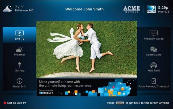 DIRECTV Residential Experience for Hotels Welcome Screen Example Home Screen