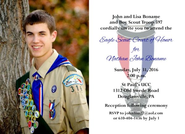 Simple Honors Photo Eagle Scout Invitation