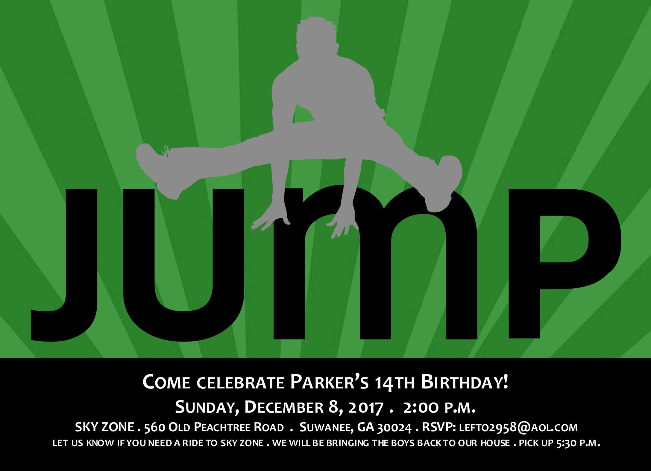 jump party birthday invitation