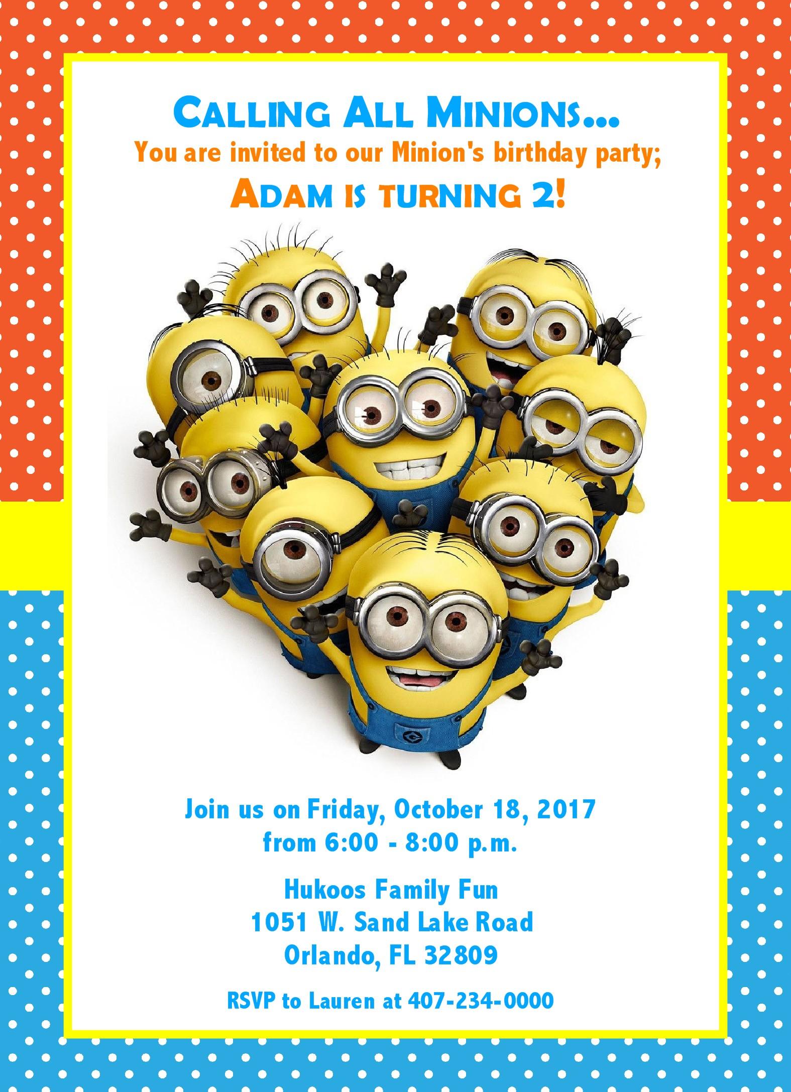 little minion party birthday invitation