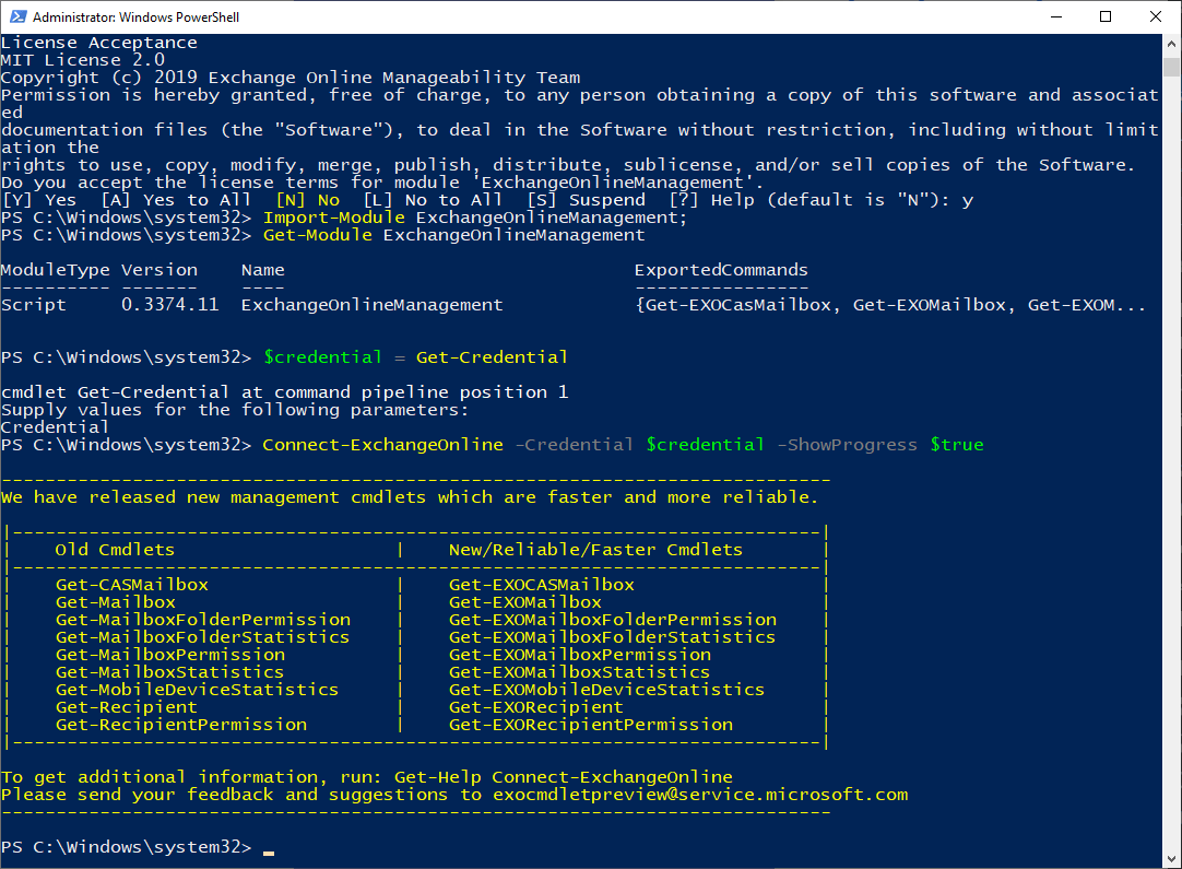 connect to exchange via powershell