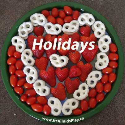 Holiday Activities for Kids--food tray shaped in a heart