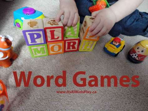Picture of Child Playing with Letter Blocks for Kids Word Games