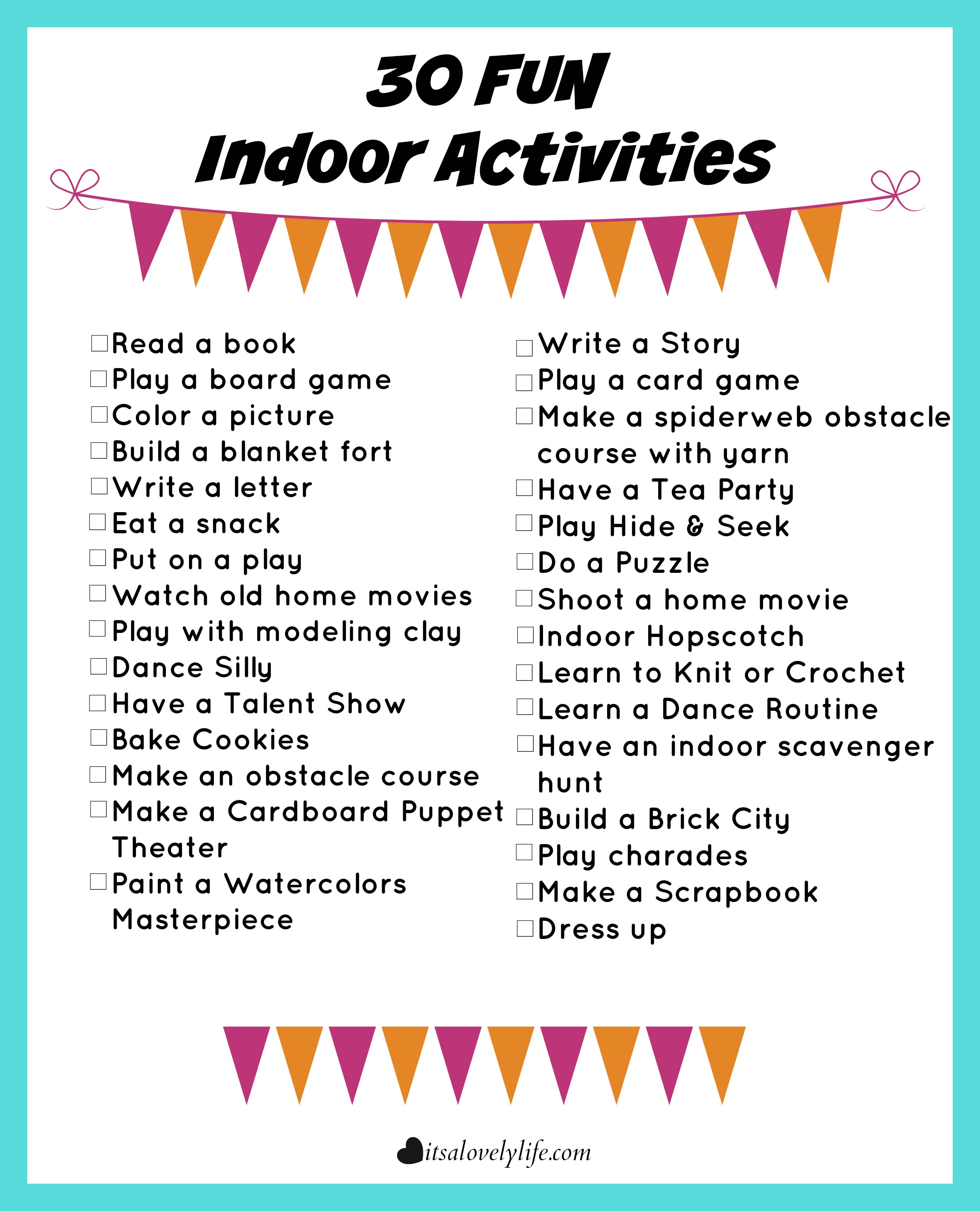 30 Fun Indoor Activities It S A Lovely Life