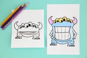 mouth monster coloring printable pages easy fun drawing open monsters drawings fold folded activity itsalwaysautumn cool reveal clicking striped grade