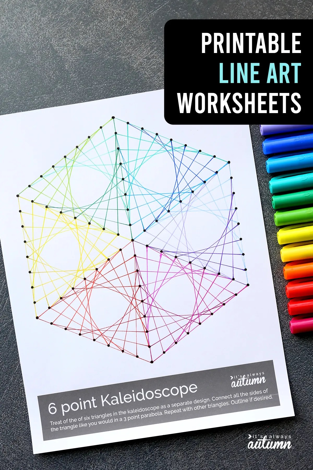 hight resolution of Geometric Line Art Worksheets {easy art project for kids!} - It's Always  Autumn