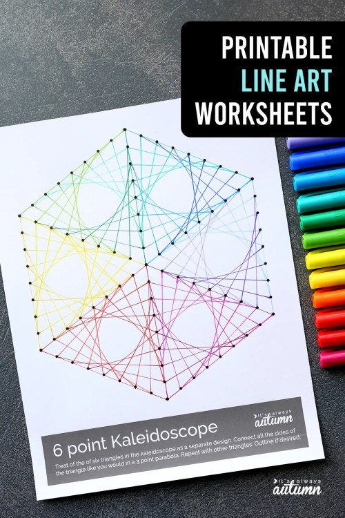 small resolution of Geometric Line Art Worksheets {easy art project for kids!} - It's Always  Autumn