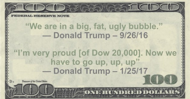 'We are in a big, fat, ugly bubble' -- 9/26/16  'I'm very proud [of Dow 20,000]. Now we have to go up, up, up' - 1/25/17 Quote