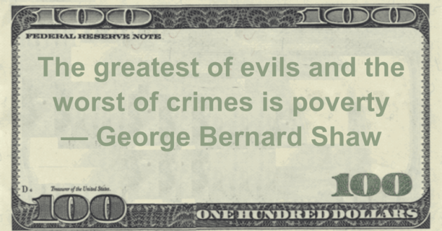 The greatest of evils and the worst of crimes is poverty Quote