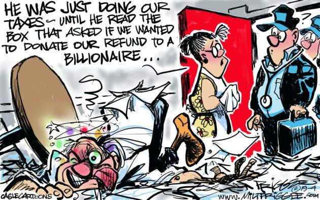 Matt-Prigee Donate Taxes Refund Billionaire