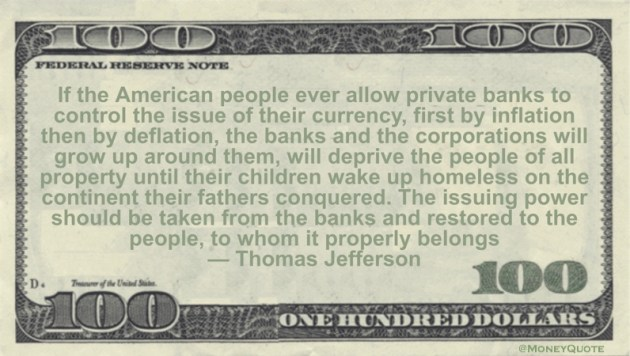 Thomas Jefferson Banks Control Currency
