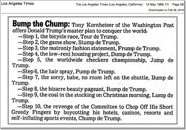 Tony Kornheiser Trump Humor LA Times May 12, 1989