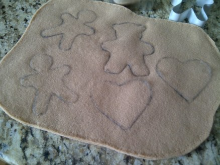 Photo of brown felt sheet with cookie shapes pencilled on