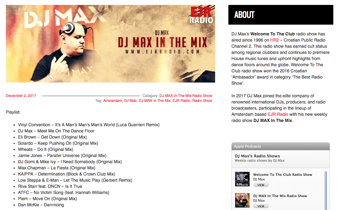 DJ Max Croatia Croatian's No.1 DJ Supports It's A Promo Thing Music Promo