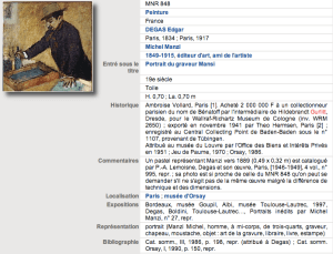 Musées Nationaux Récupération File for E. Degas painting with H. Gurlitt provenance.