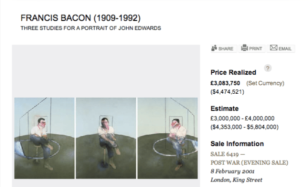 Francis Bacon, THREE STUDIES FOR A PORTRAIT OF JOHN EDWARDS (1984)