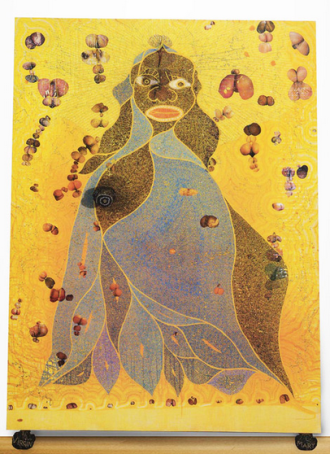 Chris Ofili, The Holy Virgin Mary, 1996.  Mixed media, elephant dung.