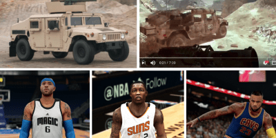 "Upper Left: An all-terrain military vehicle known as a Humvee, manufactured by AM General. Image Source: Figure 3 from Compl., 6, Nov, 17, 2017, 1:17-cv-08644-GBD. Upper Right: Humvee from the best-selling video game ""Call of Duty"". Image Source: Figure 11 from Compl., 16, Nov. 7, 2017, 1:17-cv-08644-GBD. Bottom: ""NBA 2K16"" rendition of NBA players Kenyon Martin, Eric Bledsoe, and LeBron James, depicting how the disputed Tattoos appear if a user chose to zoom in on a particular player. Image source: Defendant's Answer and Counterclaims, 143, Aug. 16, 2016, 1:16-cv-00724."