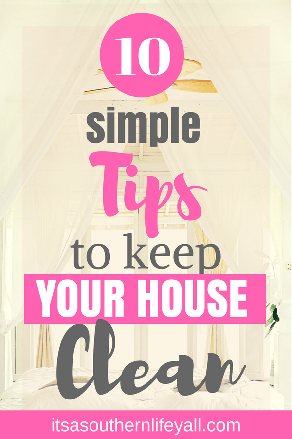Clean white room with large windows with 10 simple tips to keep your house clean text overlay - Stop Using Alt Tags for Pinterest Pin Descriptions
