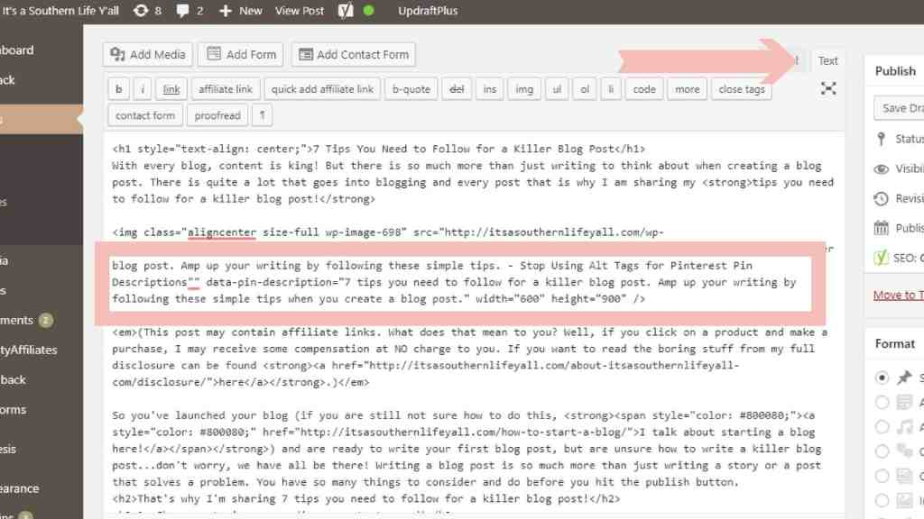 Screenshot of text editor in wordpress to show where to add pin description code.