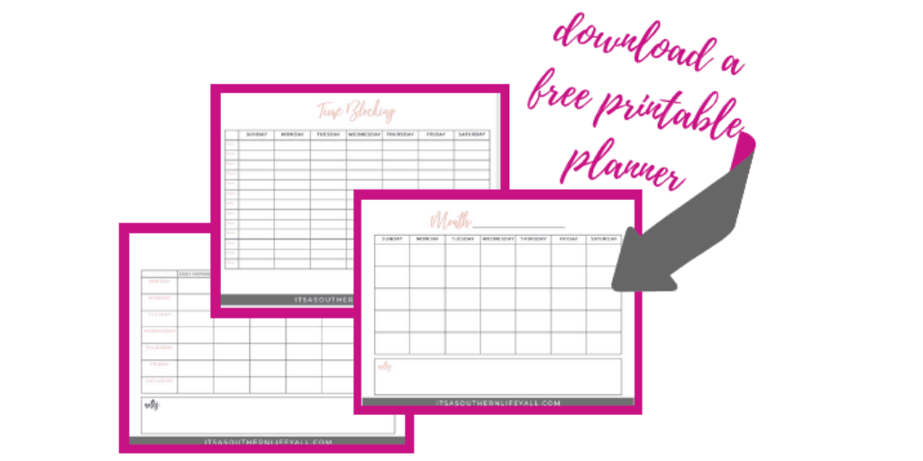 click here to download your free printable of a time blocking planner